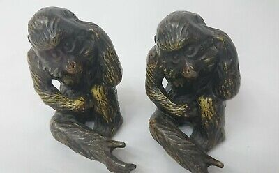 Pair of Vintage Cold Painted Spelter Monkey Figures