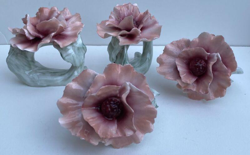 Pink Flower Napkin Holder Fine Bone China Ceramic Great For Spring Or Easter
