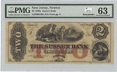 Obsolete  2 Sussex Bank Newton  Nj   1291  Nj390g20a  Remainder  Pmg 63