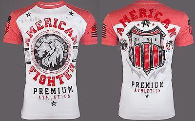 AMERICAN FIGHTER Mens T-Shirt ALABAMA Lion WHITE RED Athletic Biker Gym UFC $40