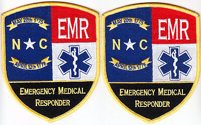 North Carolina EMR 2 patches/1 pair Emergency Medical RESPONDER NC new style