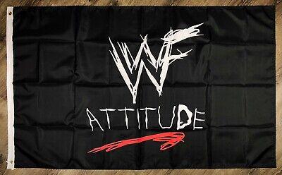 WWF ATTITUDE World Wrestling Federation Flag 3x5 ft Black Banner WCW WWE ManCave - Wwe Banner