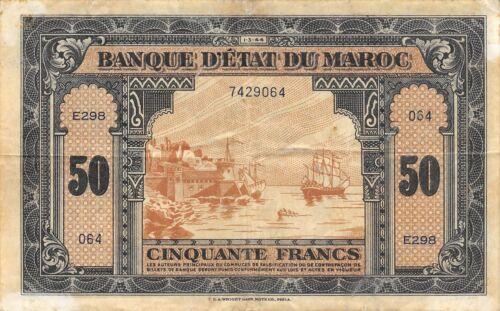 Morocco  50  Francs   1.3.1944   P 26a   Series  E298  Circulated Banknote