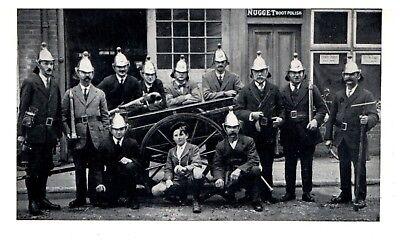 Postcard Victorian Fire Brigade With Hand Cart Appliance Fire Station Firemen 15