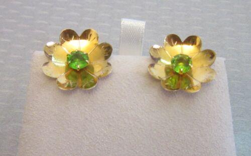 antique 14K GOLD & PERIDOT FLOWER EARRINGS threaded screw post pierced studs