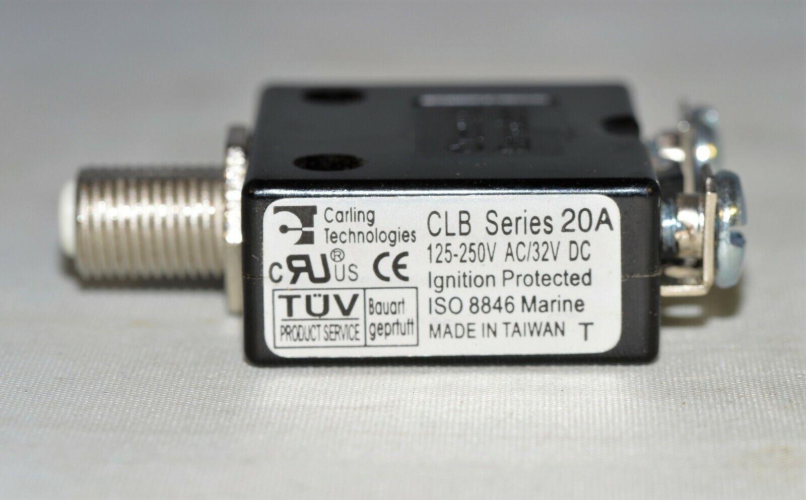 Carling Marine Grade Push to Reset Panel Mount AC//DC 20 amp Circuit Breaker