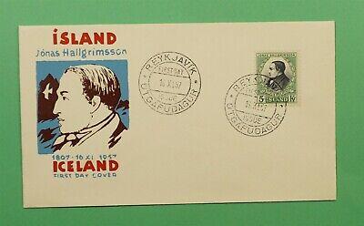 DR WHO 1957 ICELAND FDC 150TH ANNIV BIRTH JONAS HALLGRIMSSON  C241656