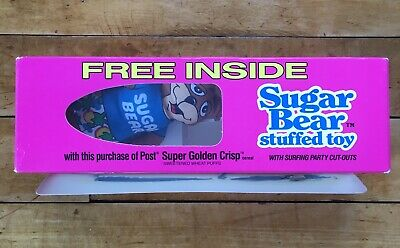 Post Super Golden Crisp Cereal Premium Stuffed Toy Surfing Bear