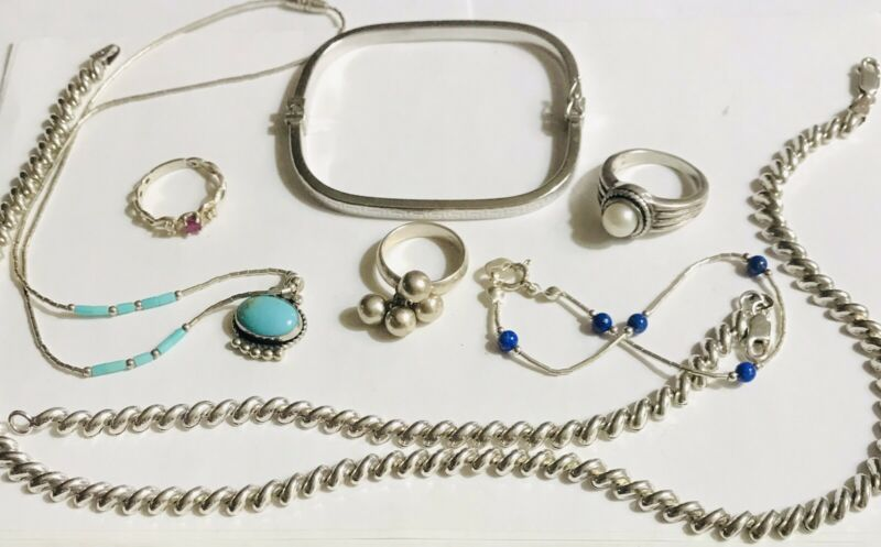 MIXED LOT 925 STERLING SILVER ITALY SAN MARCO SET POLLACK BRACELET RINGS