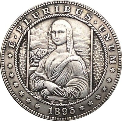 Hobo Nickel  1895 USA Morgan Dollar MONA LISA COIN