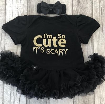 Baby Girl's CUTE ITS SCARY Black tutu romper HALLOWEEN Fancy Dress Costume Gift (Scary Halloween Girl)