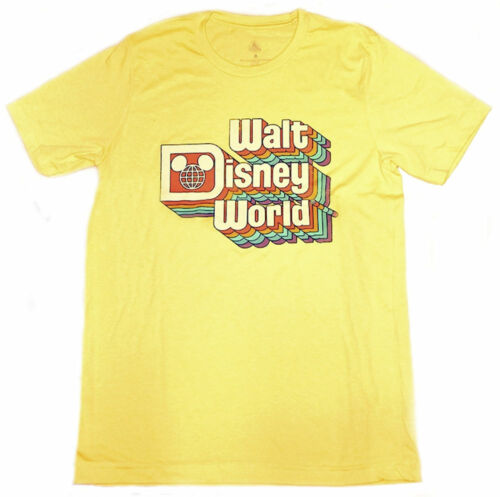 Disney Parks Walt Disney World Retro Rainbow Logo Mickey Yellow T-Shirt XXL New