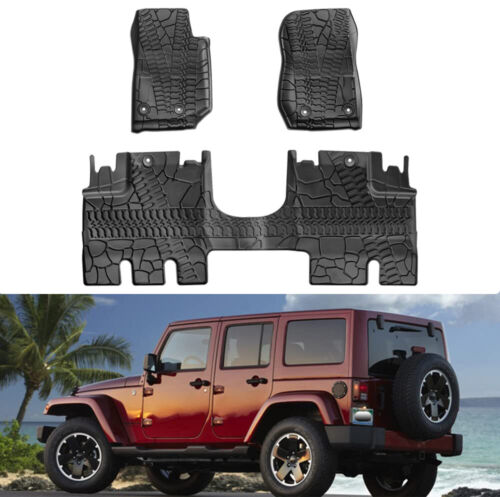 4 door only,TPE material Cargo Mats,Black Cargo Tray oEdRo All Weather Cargo Liner Compatible for 2011-2014 Jeep Wrangler without Subwoofer