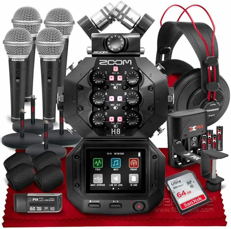 Zoom H8 8-Input / 12-Track Portable Handy Recorder Podcast Bundle with 64GB Memo