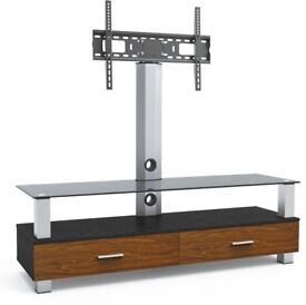 Aluminum Wood and Glass TV Stand