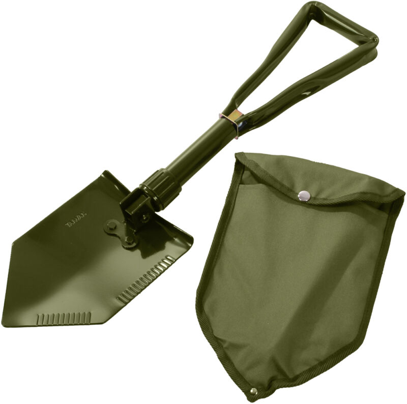Olive Drab Tri-Fold Military Emergency Compact Shovel with Cover