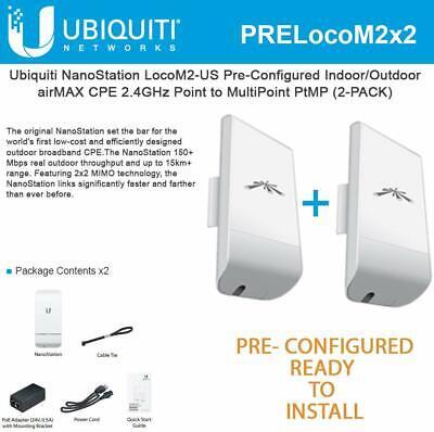 Usado, Ubiquiti LocoM2 2-PACK PRE-CONFIGURED Paired Nanostation Loco M2 AirMax 2.4GHz comprar usado  Enviando para Brazil