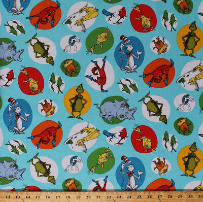 Dr. Seuss Characters Cat in the Hat Grinch Kids Cotton Fabric Print BTY D787.71 - Seuss Characters