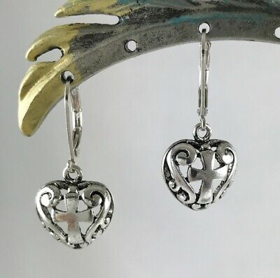 - Filigree Heart and Cross Inspirational Leverback Dangle Earrings