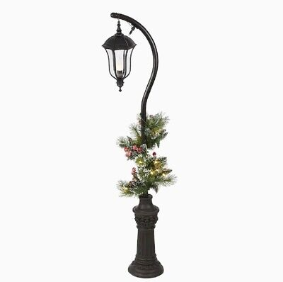 5ft Lighted Lamp Post With Greenery Sculpture Outdoor Christmas Yard Decoration