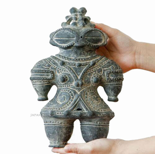 Dogu Jomon Ceramic Clay pottery statue Earthen figure Doll Ancient Black 27cm