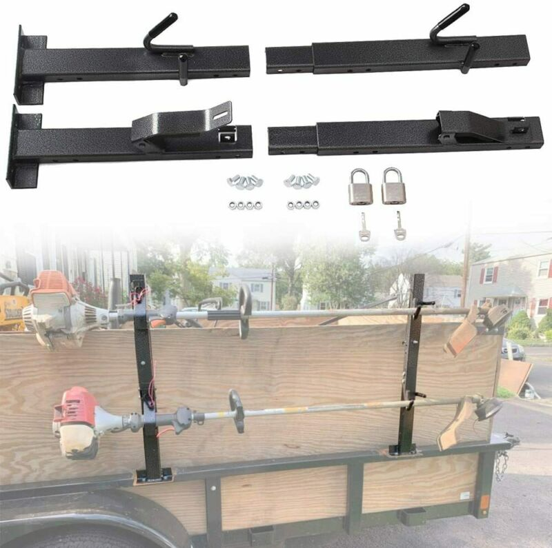 2 Place Locking Trimmer Rack Trim line Holder For Open Landscape Trailers Racks