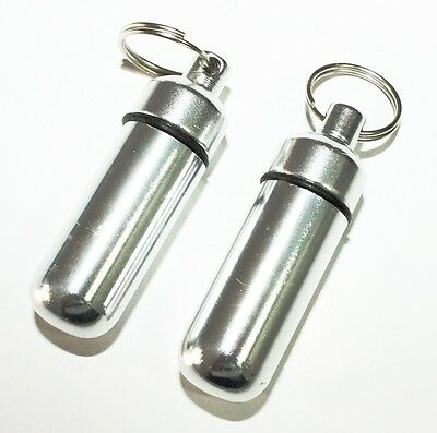 2Pc Chrome Waterproof Aluminum Pill Bottle Cache Drug Holder Container Keychain