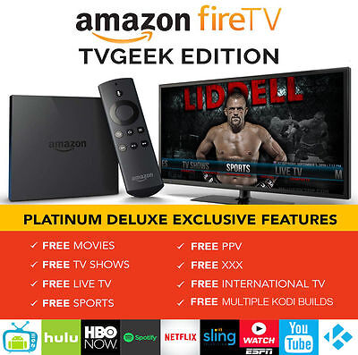 AMAZON FIRE TV BOX 4K HD JAILBROKEN TVGEEK MOVIES SHOWS LIVE TV SPORTS PPV XXX
