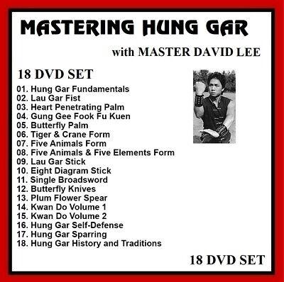 Hung Gar Kung Fu 18 DVD set w/ David Lee Choy Li Fut Shaolin panther productions
