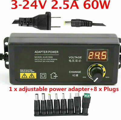 Adjustable Voltage 3 To 24v Ac Dc Switch Power Supply Adapter With Led Display