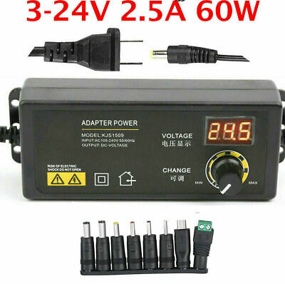 Adjustable Voltage 3 To 24v Ac Dc Switch Power Supply Adapter W Led Display