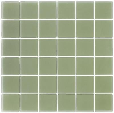 Classic Squares Green Frosted Glass Mosaic Tile Backsplash MTO0397