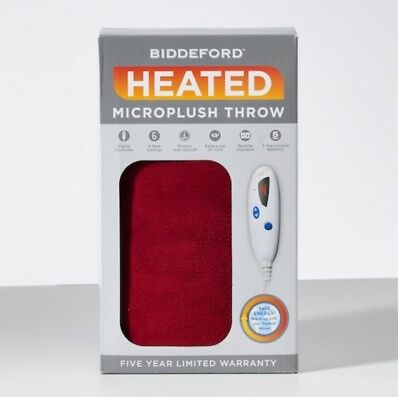 NEW Biddeford Red Buffalo Check MICRO PLUSH Electric Heated Throw Blanket