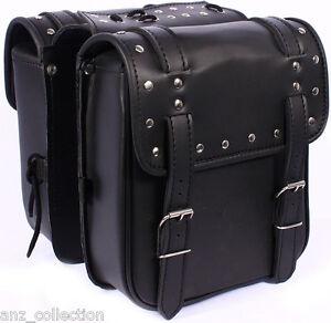 Motorcycle Biker Small Saddle bag, Sissy Luggage, Cruiser Panniers, Rack Leather