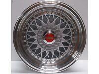 "BBS RS Grey 15"" inch Alloy Wheels 7J 8J 4x100 / 108 ET25 VW Golf Polo Fiat Audi A1 alfa bmw 3"