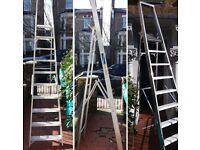 Large Aluminium 10 tread 8 foot (2.4 metre) platform ladder