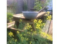 Galvanised Planter Garden Original Reclaimed Vintage Bowl with Handle