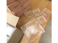 New 6 Sets of 5 Piece Glass trays, Boxed plus 4 extra base trays, versatile, makeup, jewellery etc