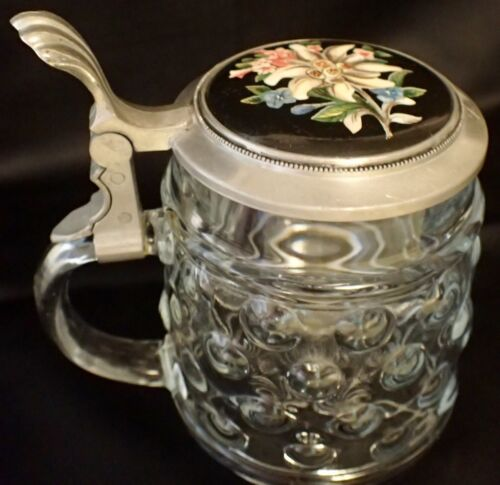 Antique 0.5L Pressed Glass Stein w/ Porcelain Inlaid Edelweiss Pewter Lid LM127