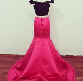 BEAUTIFUL TWO PIECE PINK AND BLACK PROM DRESS OR BALL // WORN ONCE , fuschia