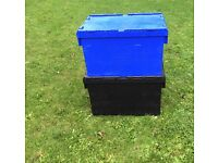 LARGE PLASTIC STORAGE TOTE BOXES/CRATES, MIXED COLOURS, STORAGE, REMOVAL £5 EACH