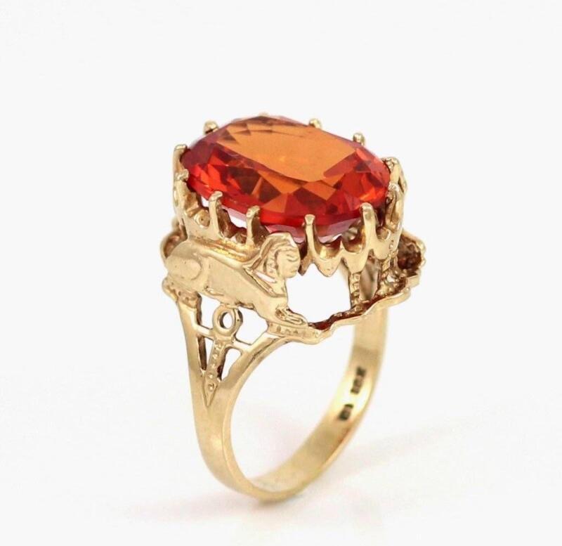 Orange Sapphire Ring Gold Ebay