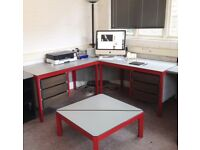 Office suite - Magpie red steel framed desks and chairs