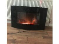 Black electric wall hung flame effect fire
