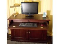 Home Office Desk Mohogany Computer Writing Desk Hidden Used