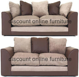 EXPRESS DELIVERY ALL UK   NEW DYLAN JUMBO BROWN/BEIGE 3+2 OR CORNER SOFA SEATER   1 YEAR WARRANTY