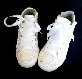 White sparkly hi tops