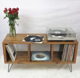 Rustic Retro Vintage Industrial Loft Wooden Record Player Cabinet TV Unit