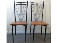 2 dining chairs office reception chairs French style wood and cast iron chairs DELIVERY WITHIN LE3