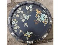 Antique old inlaid Oriental Chinese Japanese coffee table inlaid mother of pearl and carved stones